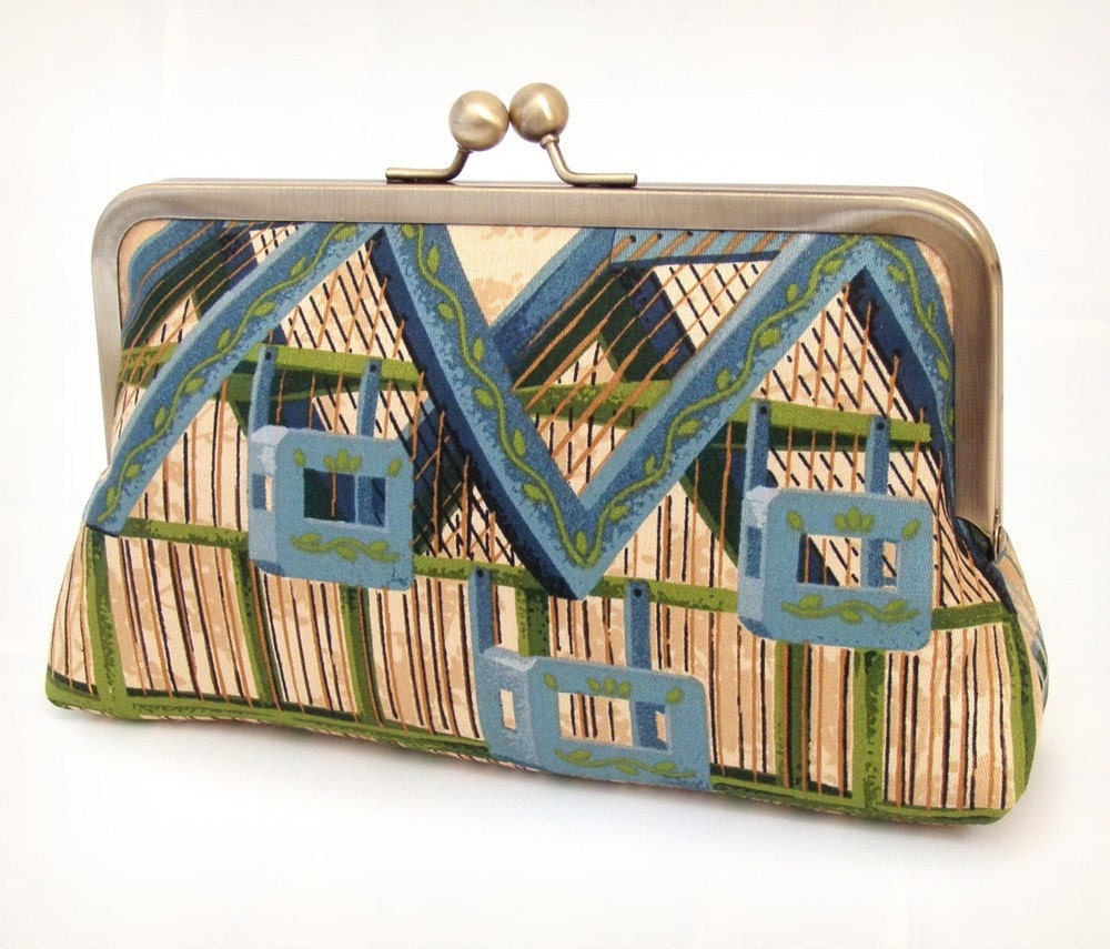 architectural birdcage, silk lined clutch bag