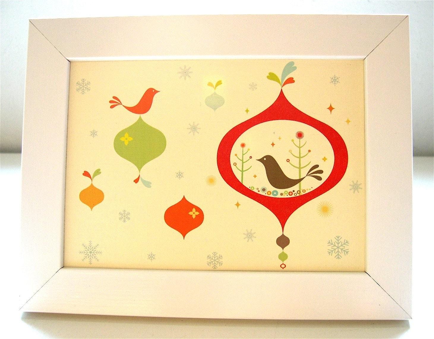 Framed Birdie Ornament Print