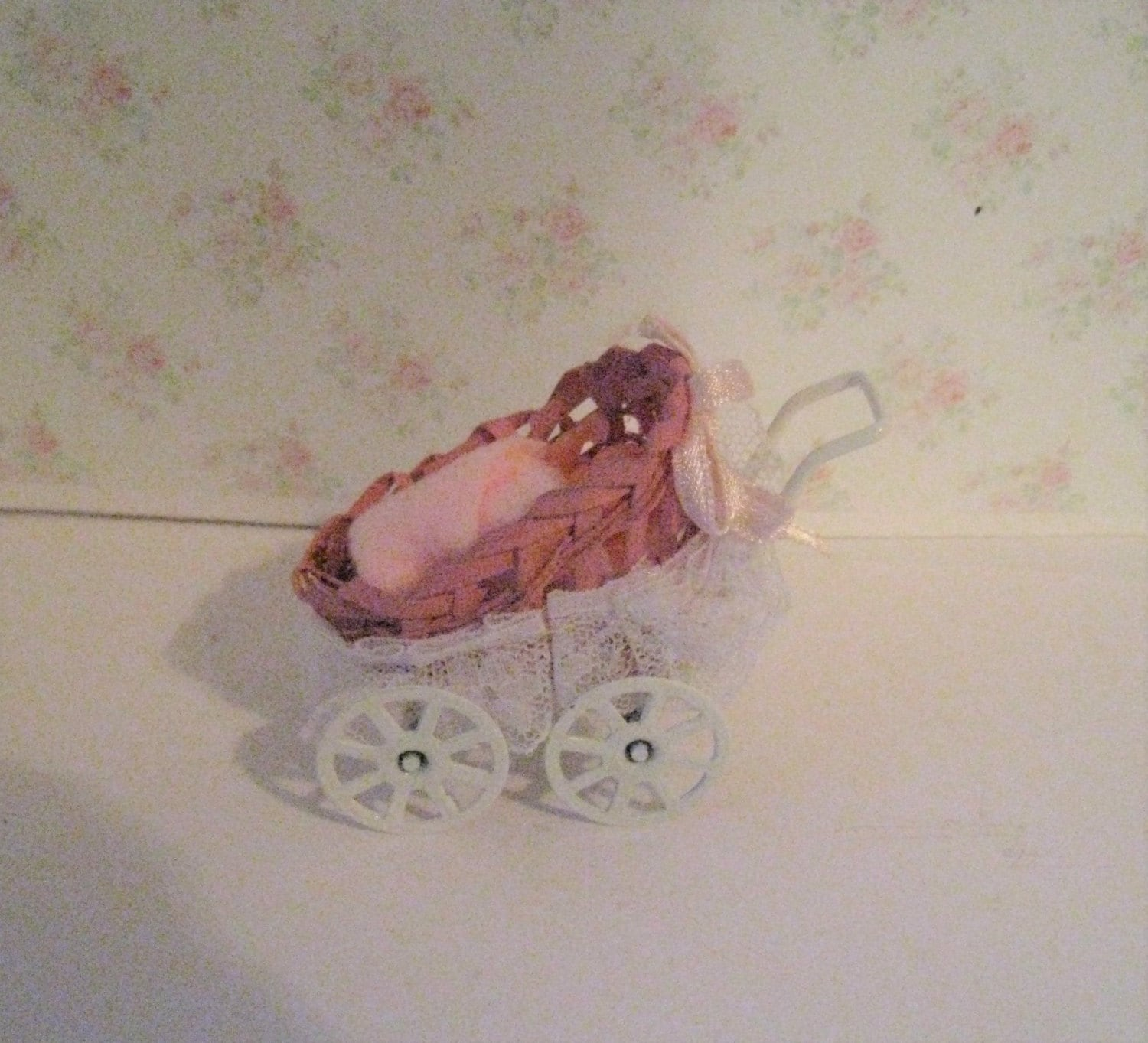 Dollhouse nursery buggy  Dolly buggy dolly carriage   Nursery Buggy twelfth scale cradle
