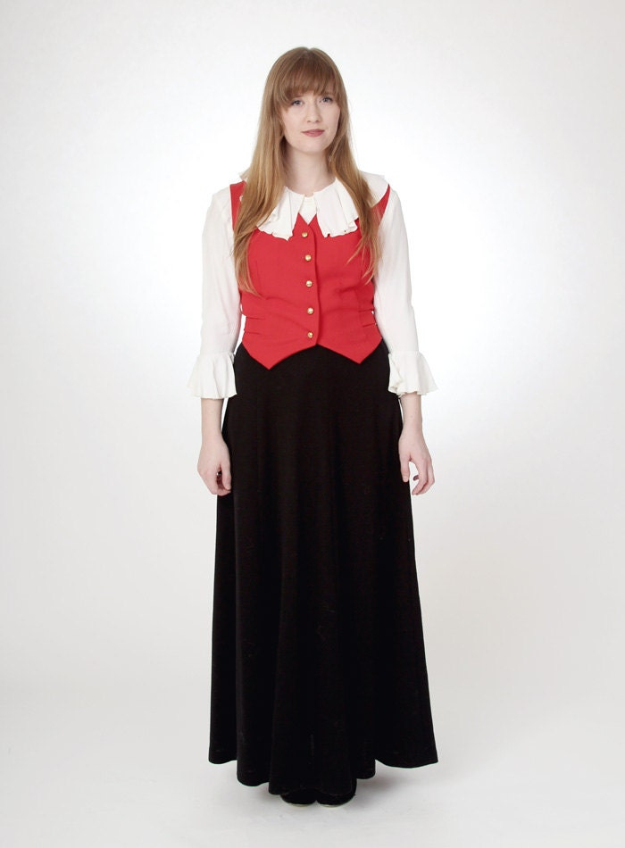 vintage 1970s black wool maxi skirt by