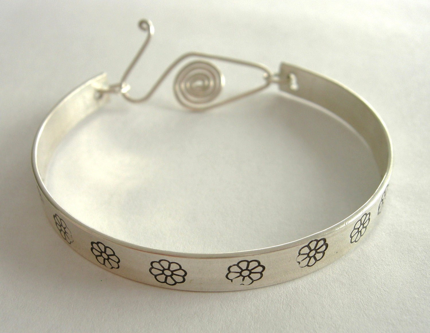 Hand Stamped Bangle, Sterling Silver Gerbera Daisy Stamped Bangle Bracelet