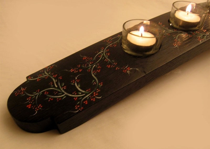 The Verry-Berry, Hand Painted, Finest Oak Wine Barrel Stave Candle Holder, 5 candles, elegantly recycled wood, one of a kind.