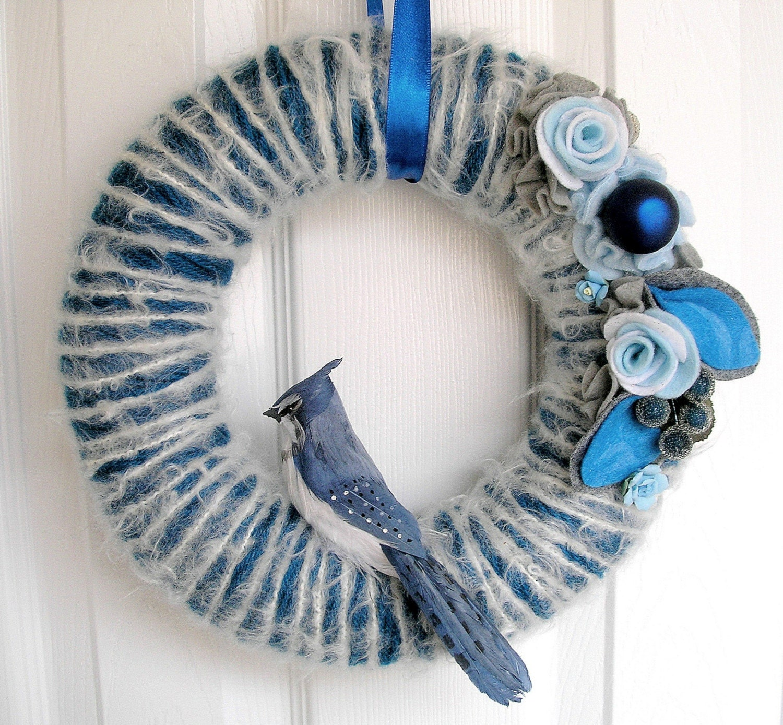 Sapphire Blue Jay Yarn Wreath