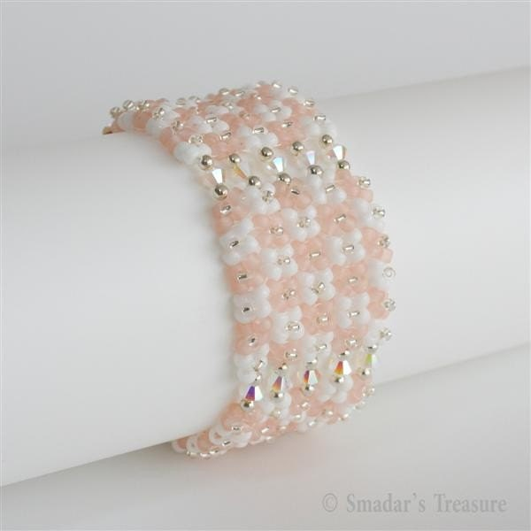 Floral Imitation White and Rose Beadwoven Bracelet