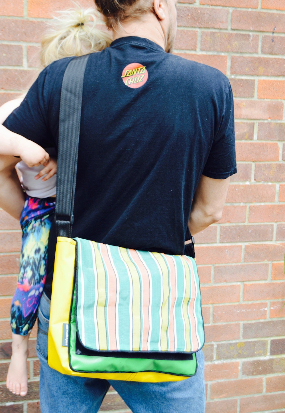 Upcycled Vintage Deckchair Canvas  Yellow Green Bouncy Castle PVC Unisex Messenger  Courier  Cross Body Bag