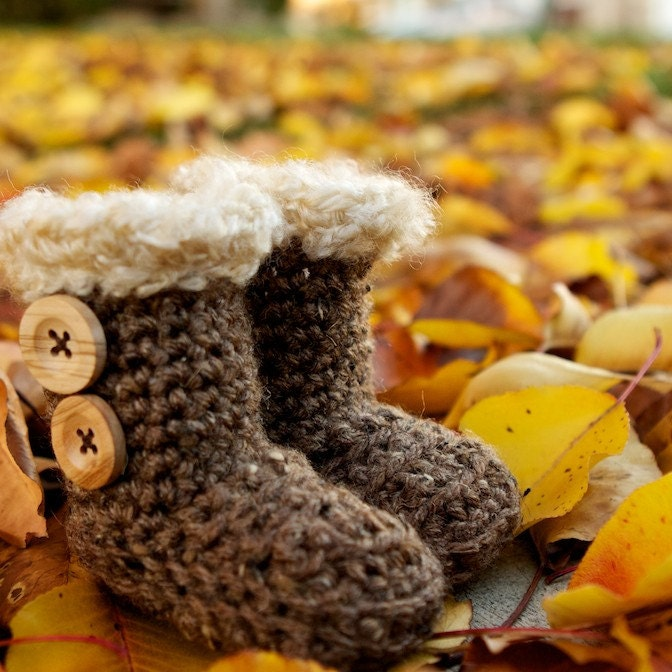 The Original BUGG Boots: Crocheted Baby and Child Size UGG Style Boots- Cozy Warm and Perfect for Thanksgiving and Christmas
