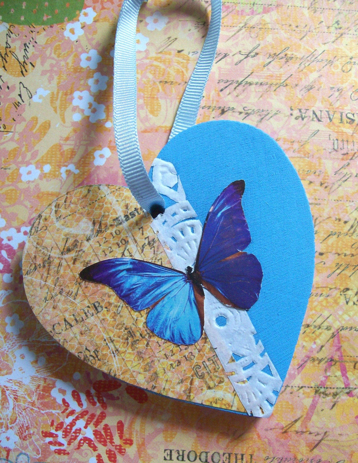 Blue Butterfly 3 - Original Hand-Painted/Mixed Media Wooden Ornament