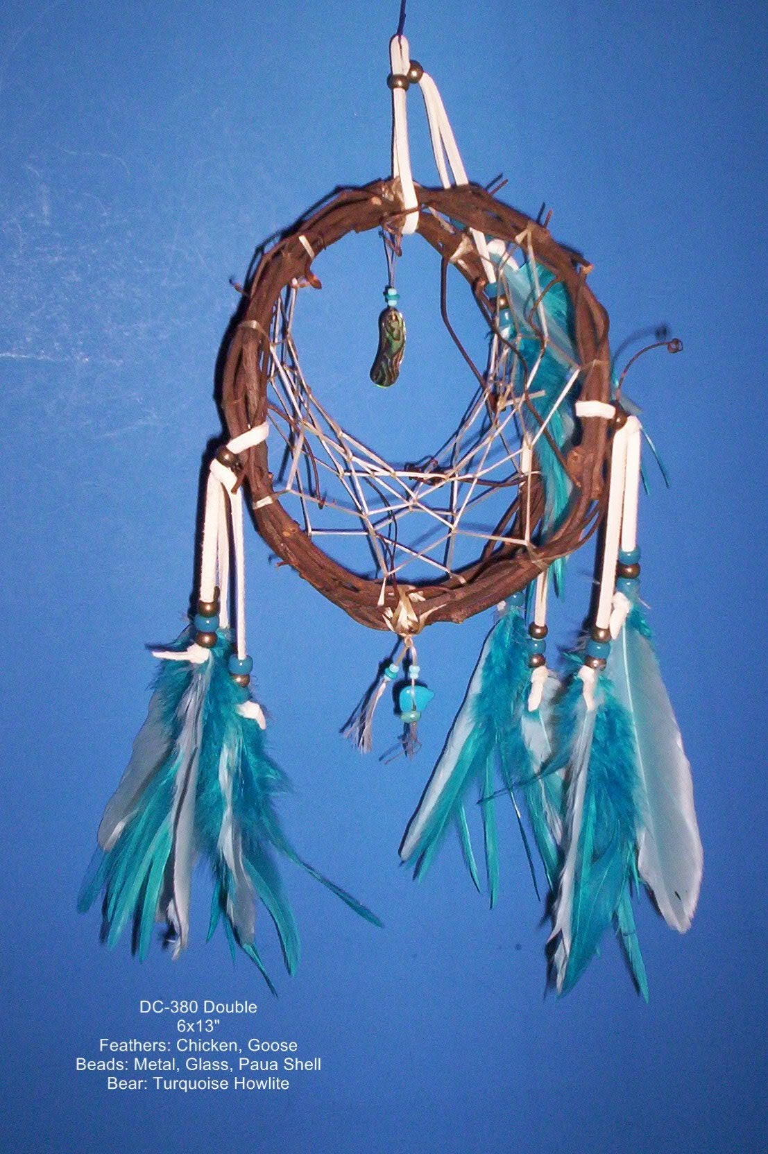 Double ring dream catcher grapevine metal glass by for How to make a double ring dreamcatcher