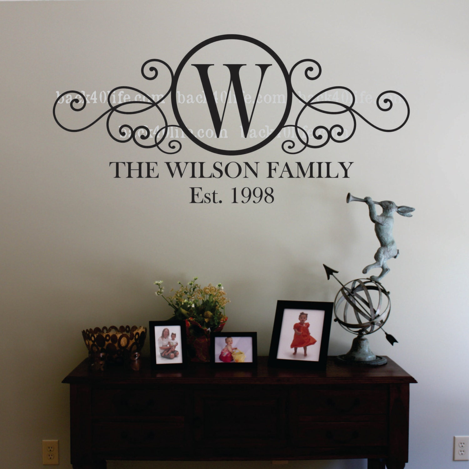 Swirly circle family monogram vinyl wall decal m 010 by for Monogram wall decal