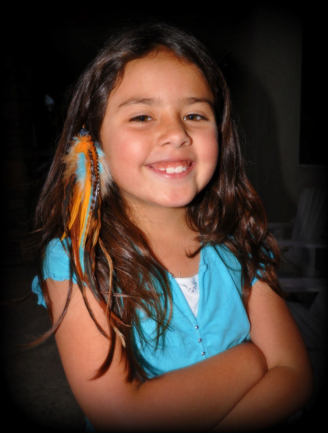 Blue and Orange Feather Extension