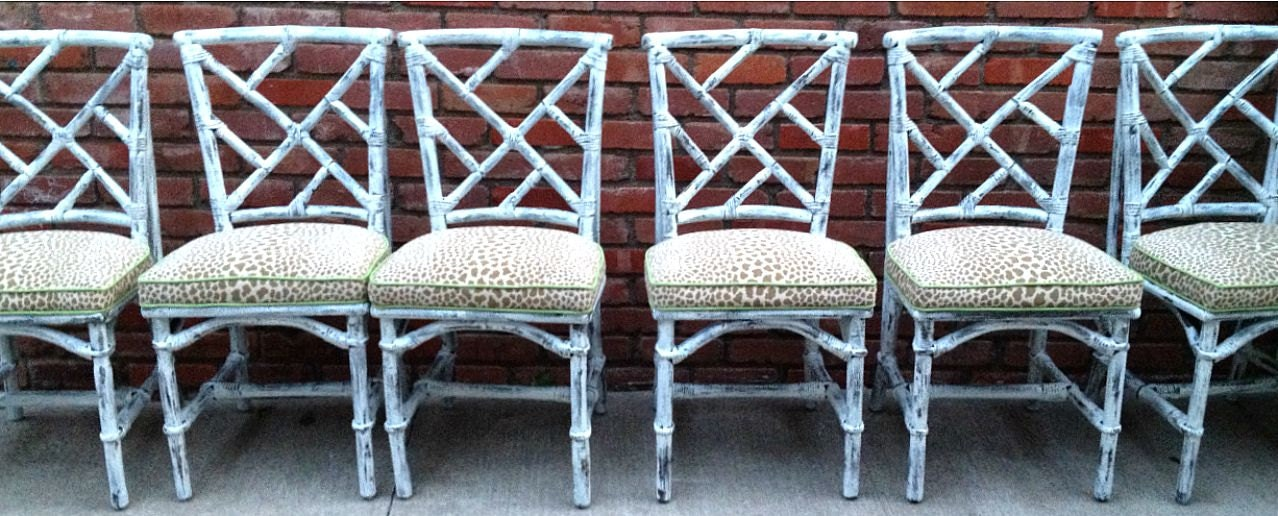 Bamboo Dining Set Six Chairs Table Chippendale White Paint Leopard Print Rattan