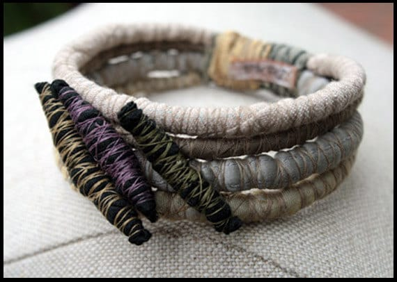 Chiara - Wrapped Textile Fiber Bracelet - Handmade - Art To Wear - Upcycled - Recycled - Organic Look - Fashion - Women Accessories