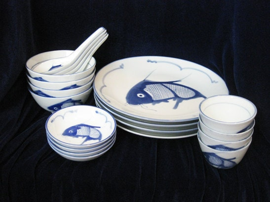 Decorating With Blue And White China: Chinese Blue And White China Carp Fish By WrappedRoundMyFinger