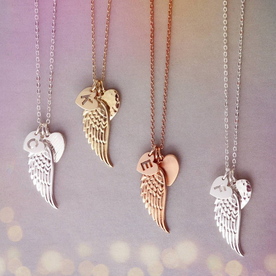 Angel Wing Cluster Necklace  Angel Wing Jewellery  Silver Charm necklace UK  UK charm jewellery  Angel wing charm  Gift Card Jewellery