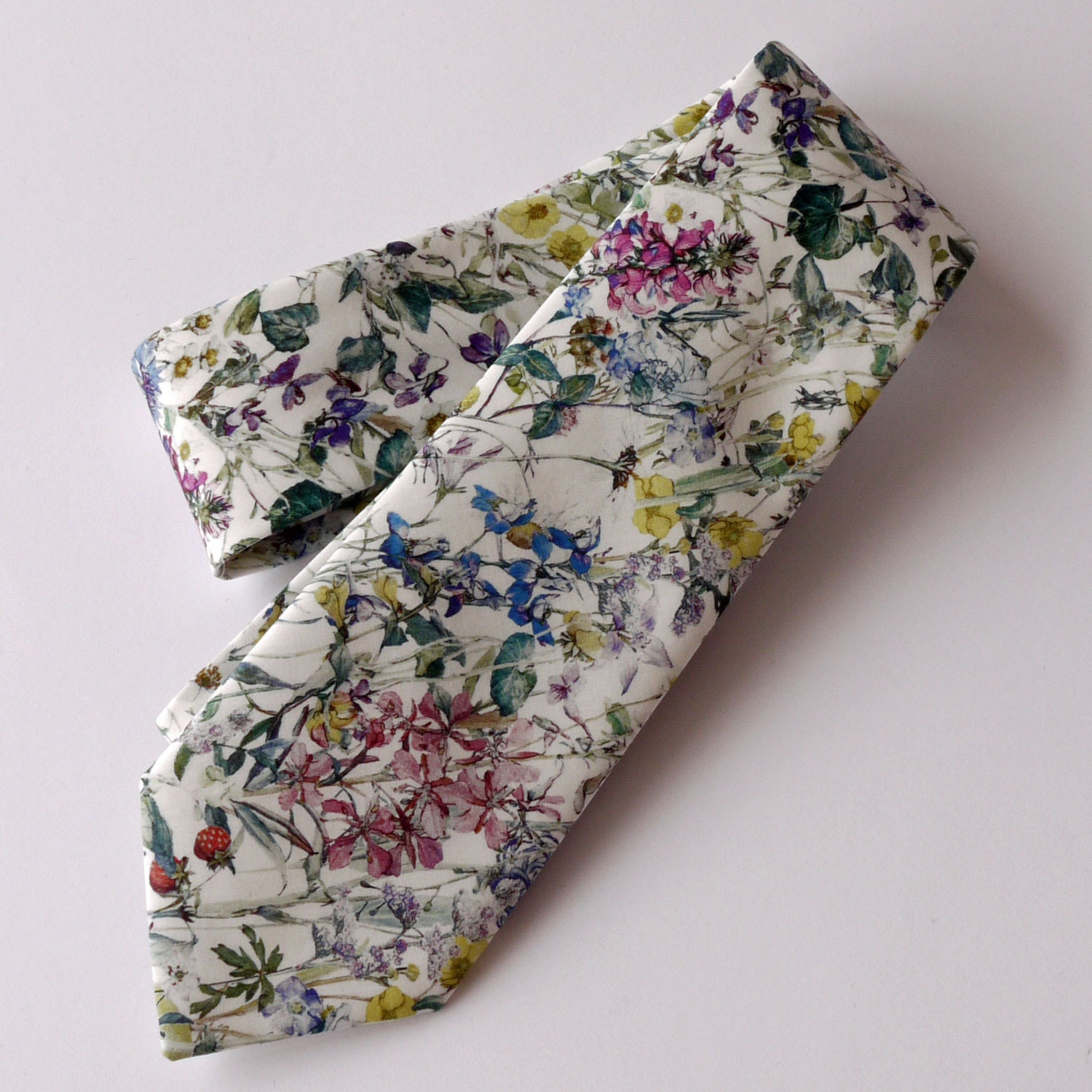 Floral Liberty print tie  wedding tie    Liberty tie Wild Flowers tana lawn  floral tie