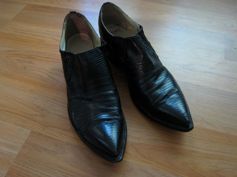 mens vintage cuban heel snakeskin pointy shoes by flipsville