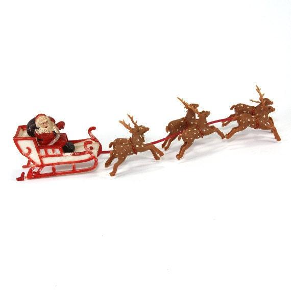 Christmas Santa Sleigh Reindeer Vintage 1960's by MamaMotherlode