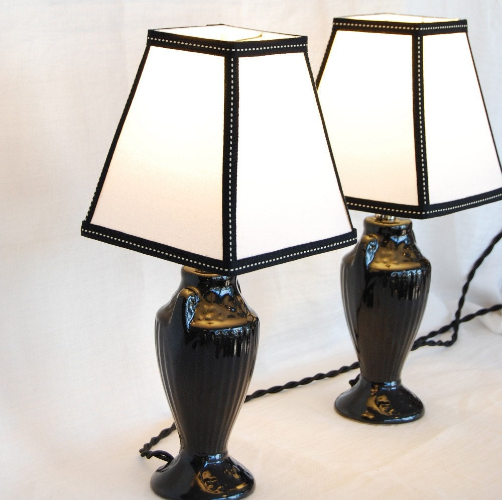 Pair of Vintage 1920's Black Pottery Lamps with by Shandells from etsy.com