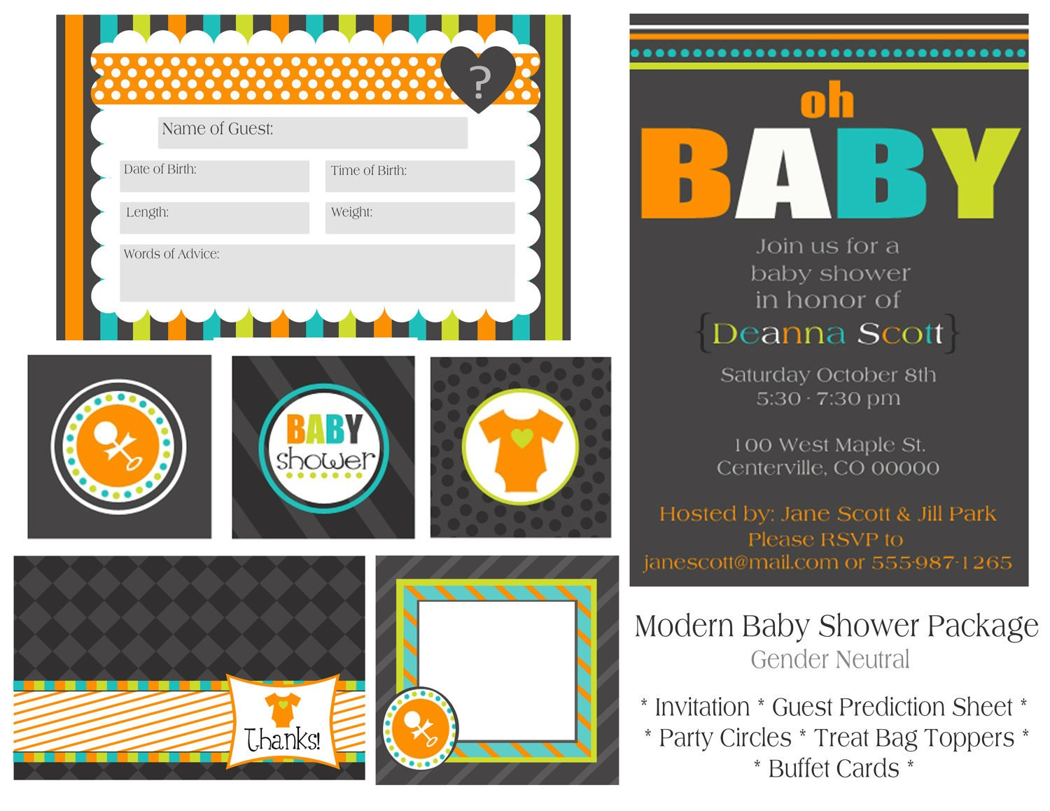 items similar to modern baby shower printable party package on etsy