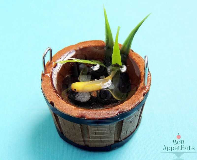 Handmade miniature barrel pond with gold koi fish by for Miniature fish pond