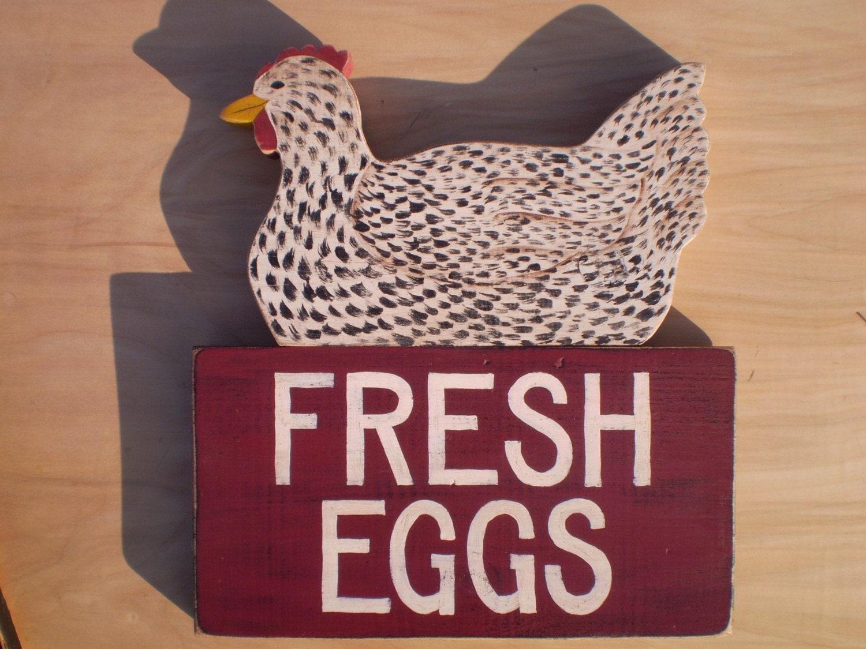 Speckled Hen / Chicken Fresh Eggs Sign