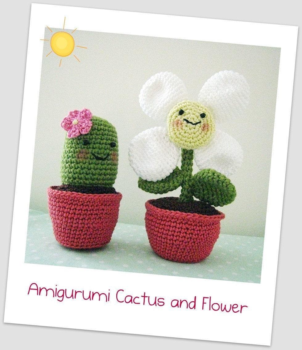 Amigurumi Flower Crochet Pattern : Amigurumi Cactus and Flower Crochet Pattern by curlsofsunshine