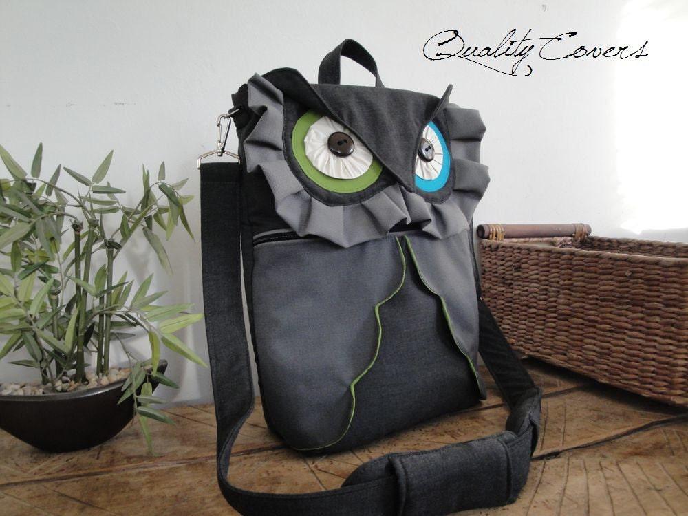 Кабриолет Рюкзак - Настраиваемые сумка ноутбук - OWL в темно-серый / ноутбук отсек / Сумка / Сумка