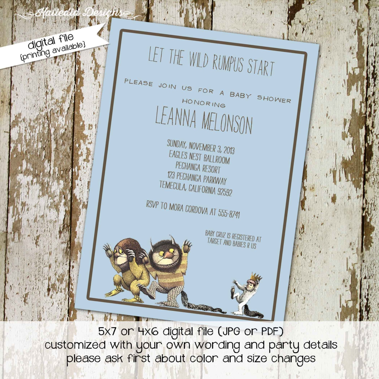 where the wild things are baby boy shower invitations wild rumpus