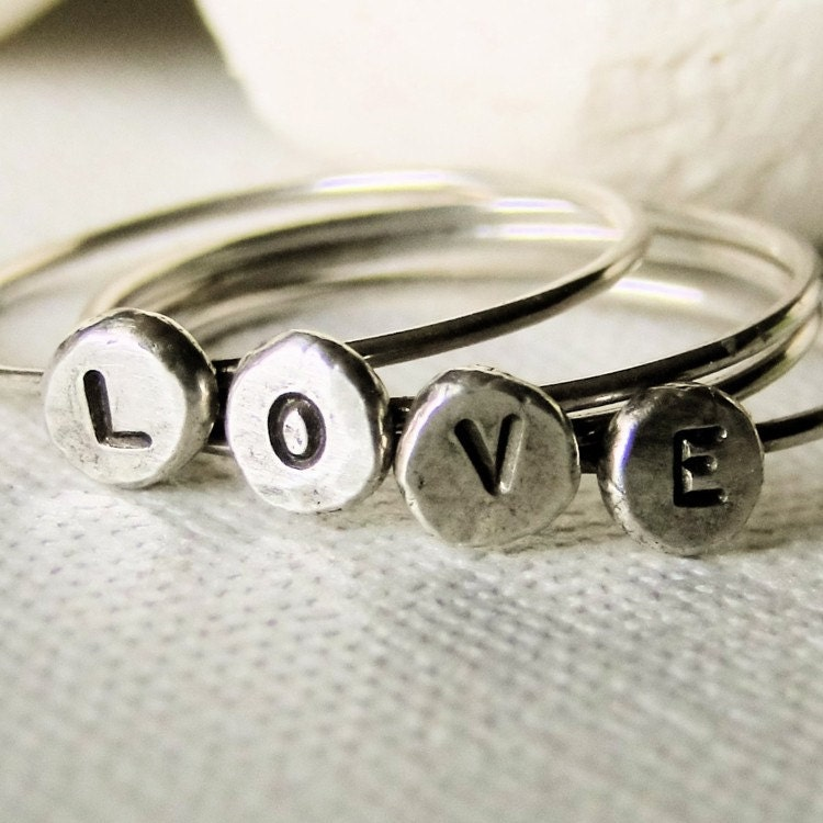 stamped silver love rings