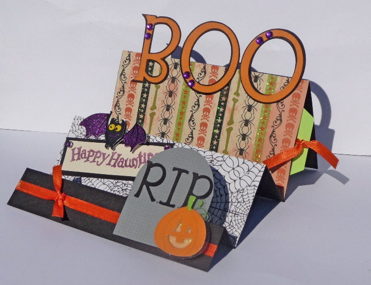 BOO Halloween Greeting Card - Handmade Accordian Fold