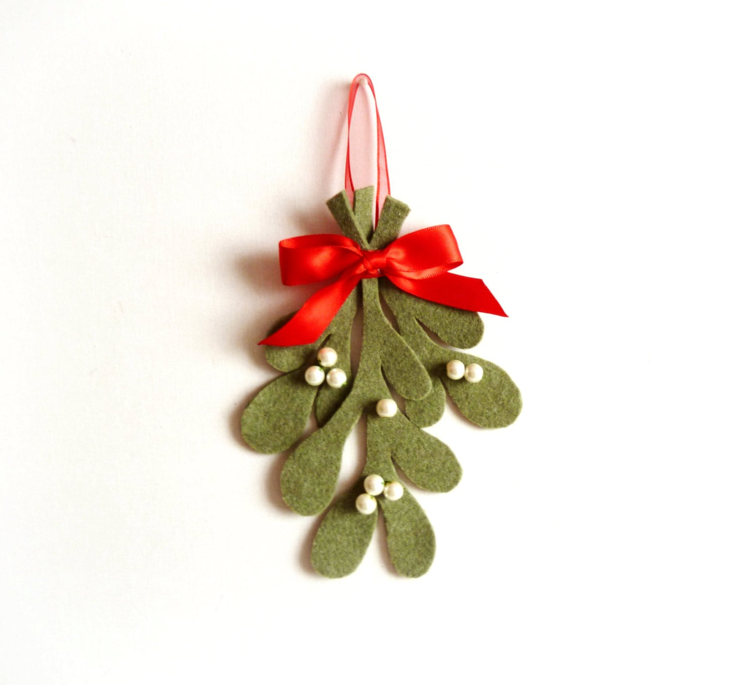 Christmas Mistletoe,Mistletoe Traditional  Decoration,Christmas Ornament,Christmas Home Decor,Holiday Decor,Green Red White,Felt Christmas - LorenzaPari