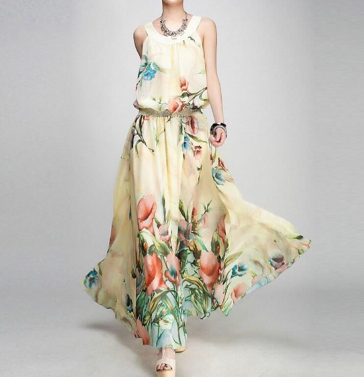 New summer chiffon dress lady sleeveless chiffon dress large female (FGK128) - handok