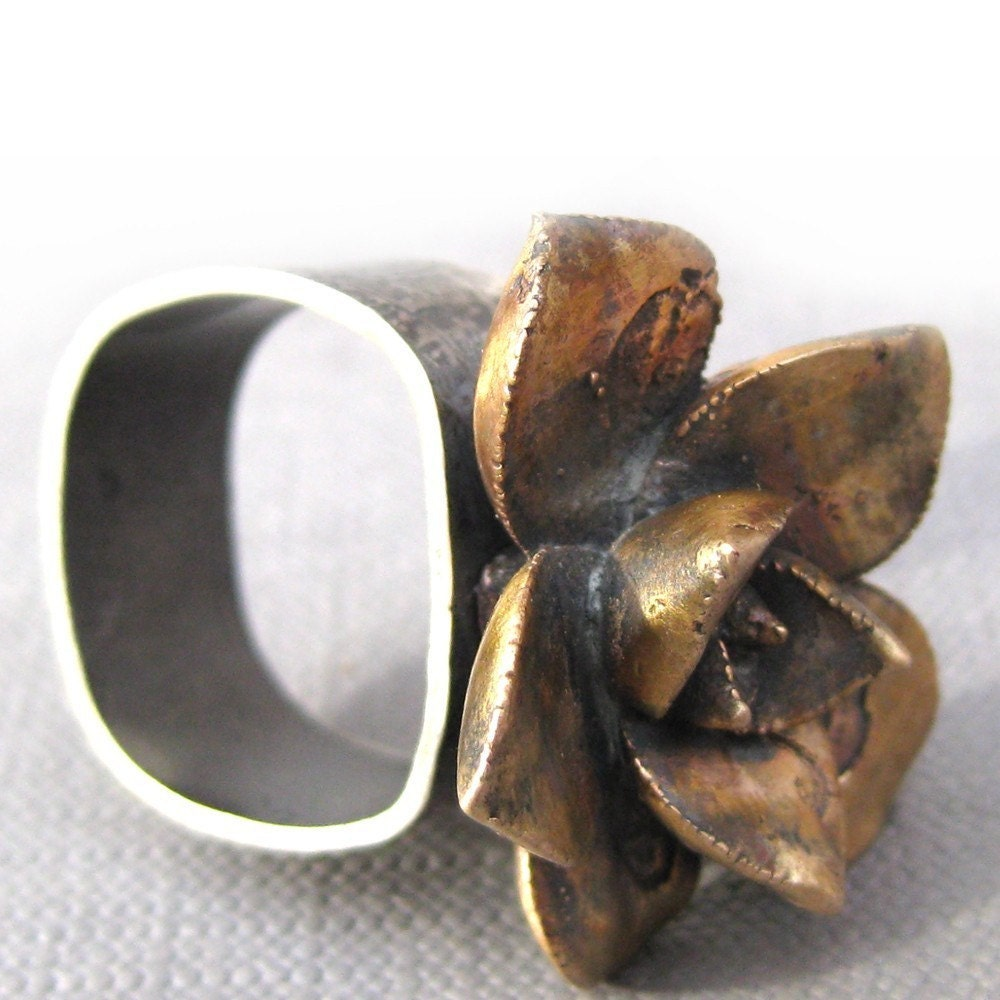 Ancient Bronze Succulent Ring size 7