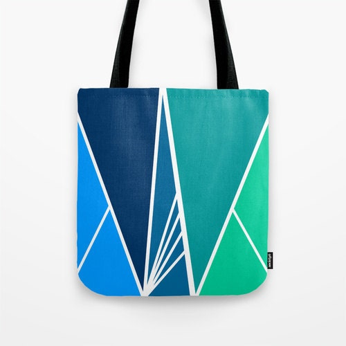Tote bag with blue and green / canvas bag / grocery bag - Swallowthesun
