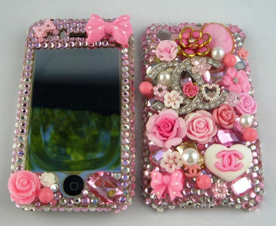Bling Swarovski Pink Flower Theme Iphone 3G/3GS Faceplate 004