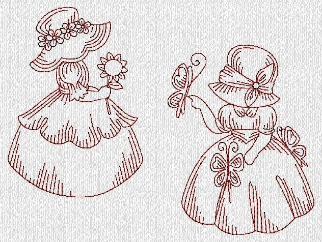 INSTANT DOWNLOAD Vintage Sunbonnet Sue Girls By Embroiderygirl