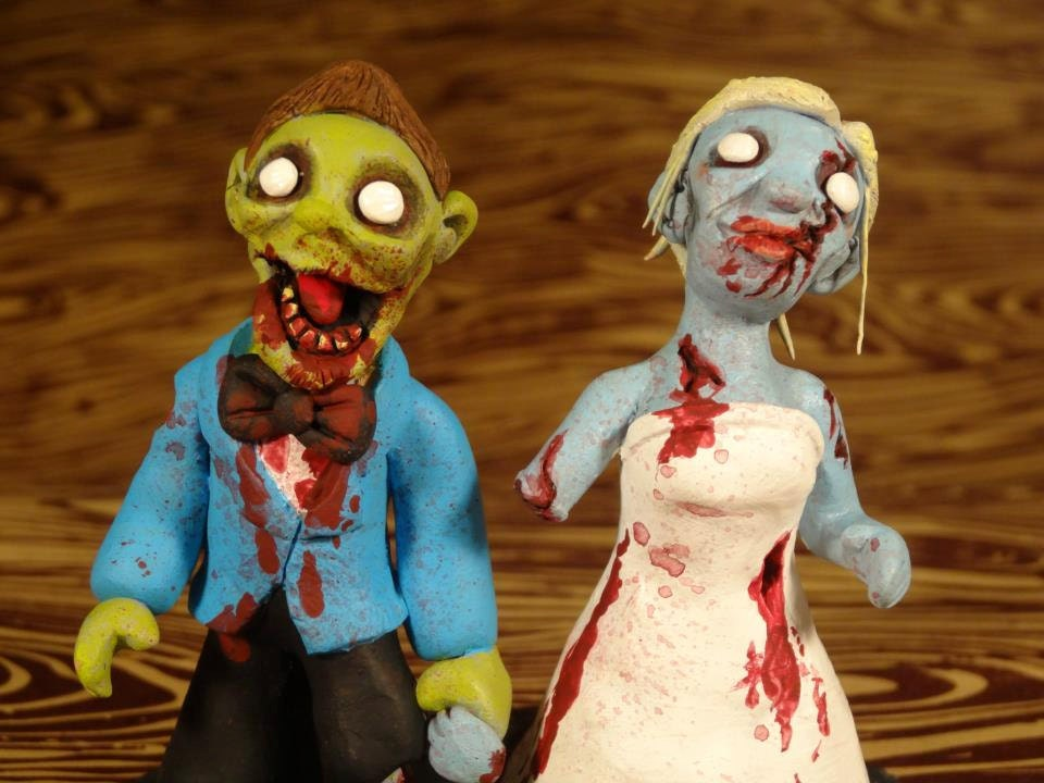 CUSTOM OOAK Zombie Wedding Cake Topper - Made to look like you