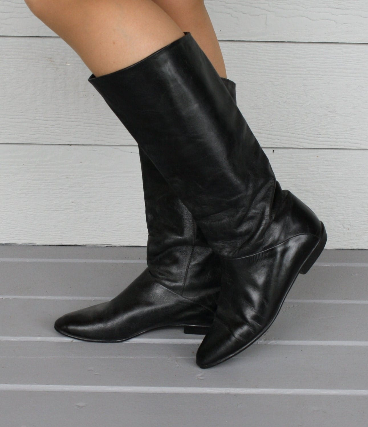 vintage black leather pirate boots size 7 by foxybritvintage