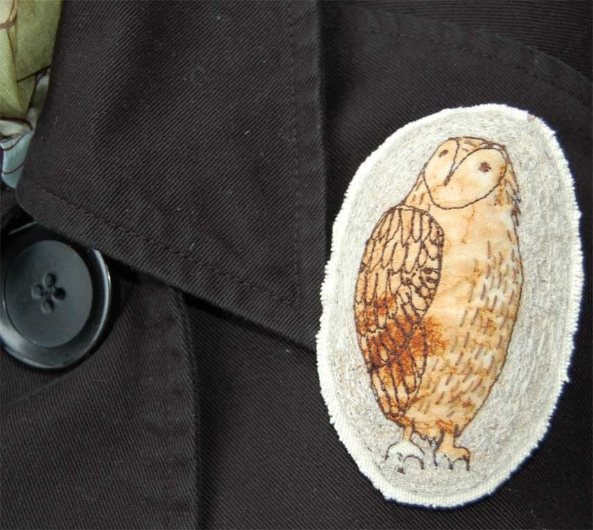 Embroidered Brooch - Large owl