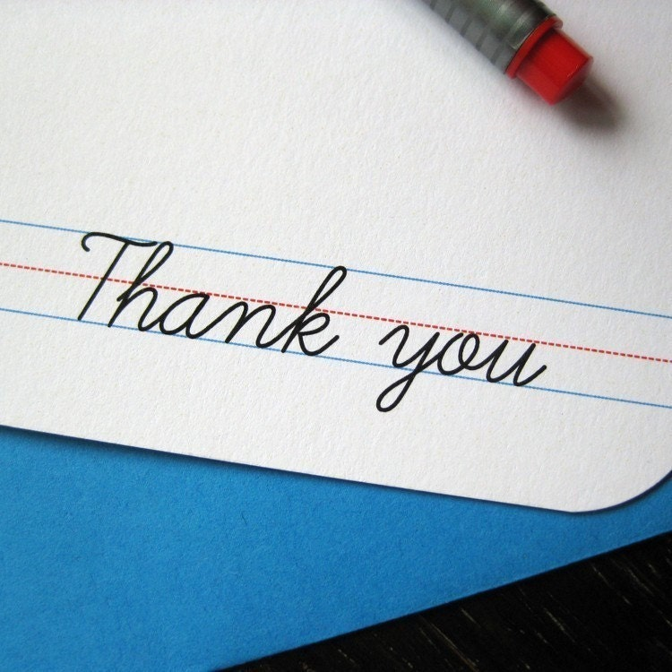 Retro School Penmanship Thank You Cards (Set of 4)