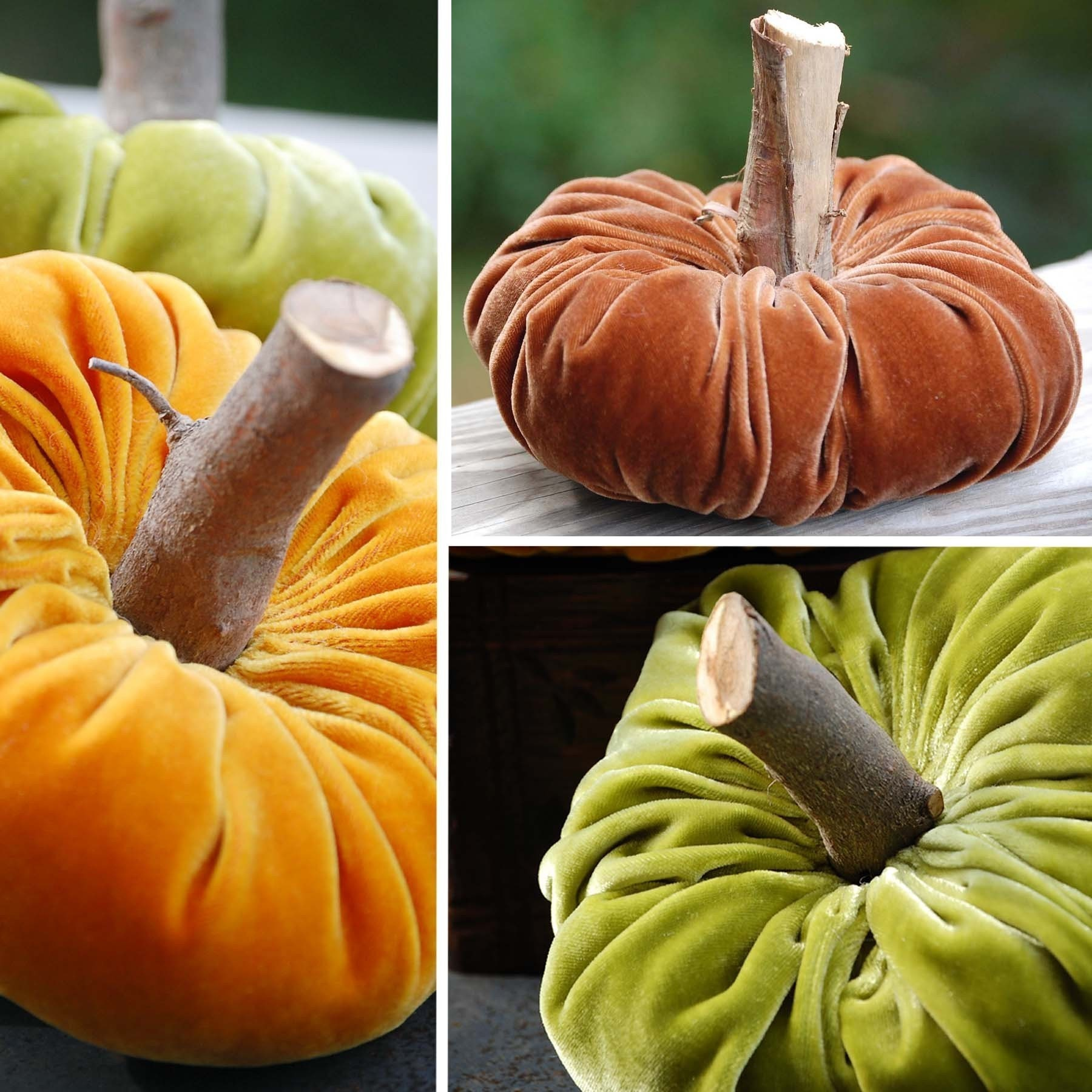 VELVET PUMPKINS  They are all the rage.  Make your own today.  Fabric Pumpkin Sewing and Craft Pattern eBook