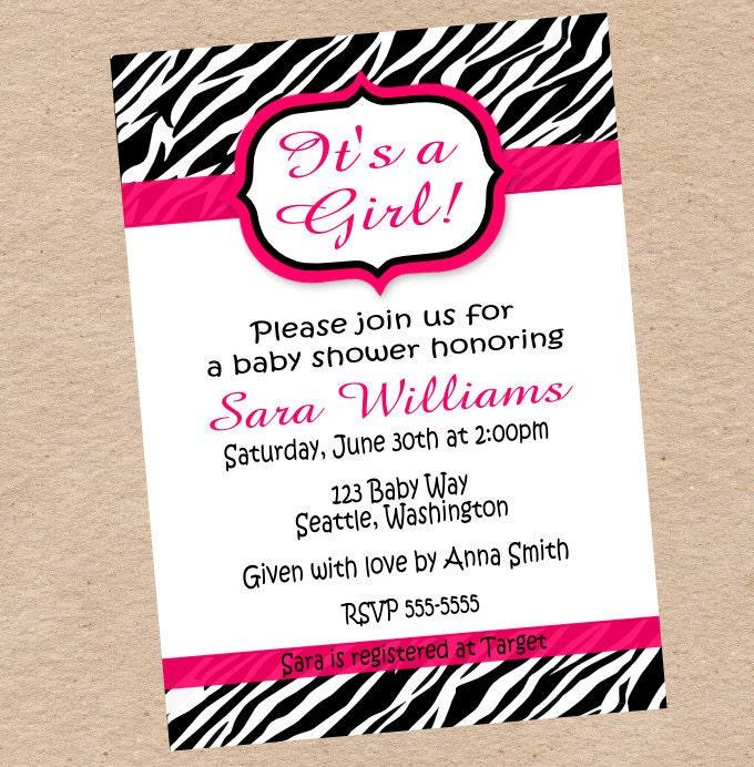 Zebra Print Invitation Baby Shower Birthday By
