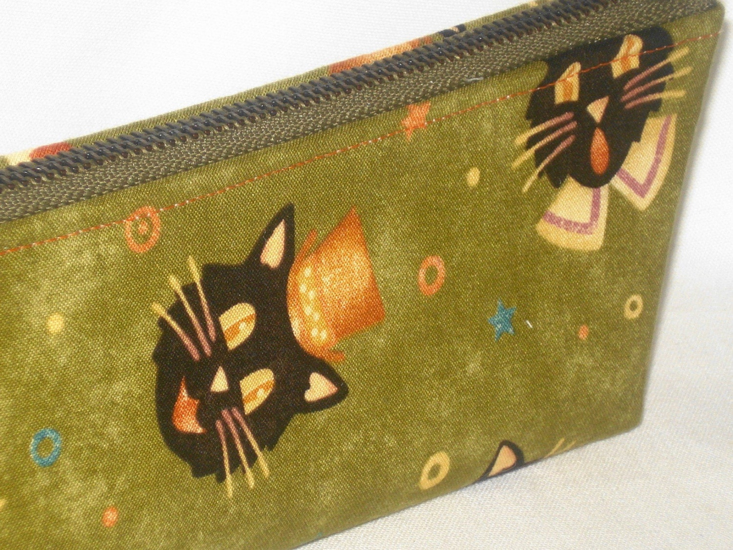 Pyewacket Shorty Clutch --- Vintage Black Cats on Olive --- One of a Kind by WolfBait on Etsy from etsy.com