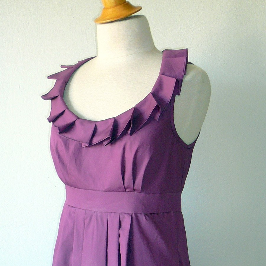 Plum Pleated Collar Dress
