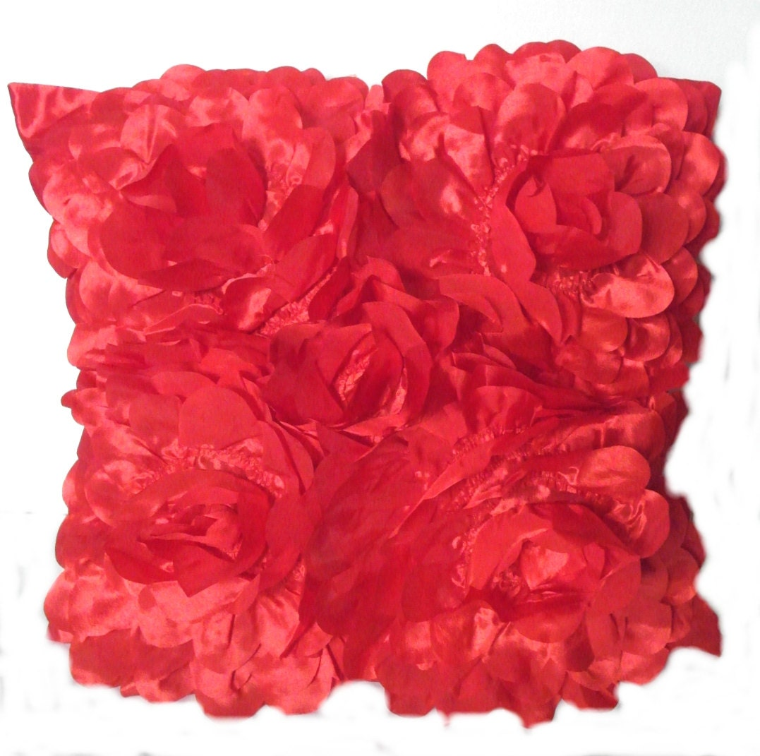 "Red cushion cover ""anémone"""