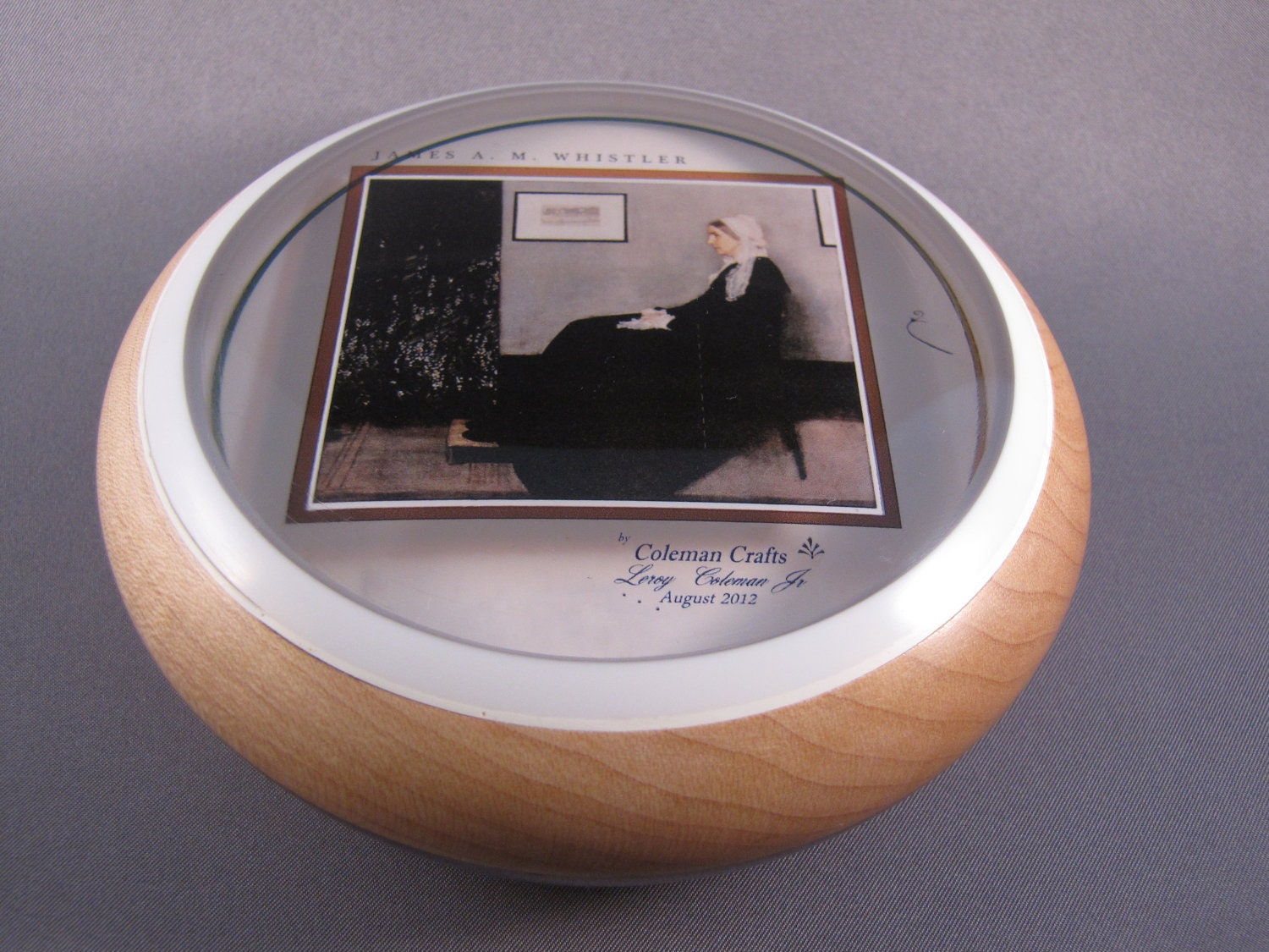 Hard Maple Bowl with Whistler's Mother Painting