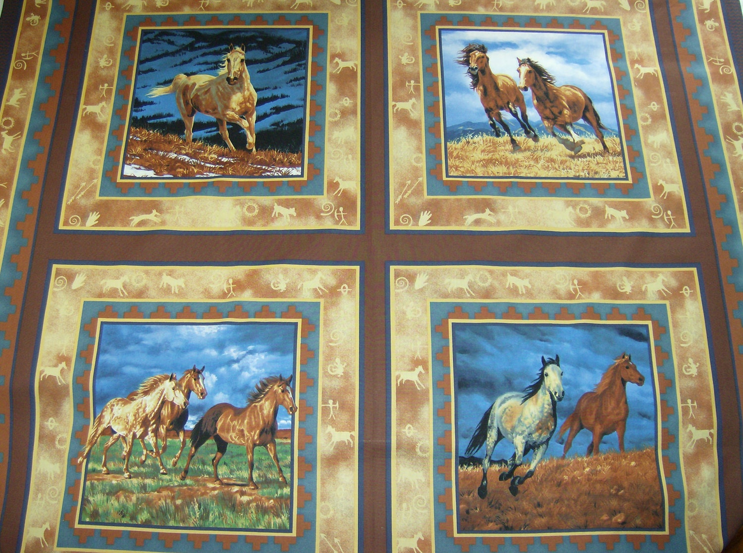 Large Fabric Panels : Items similar to horses large fabric panel with quilt