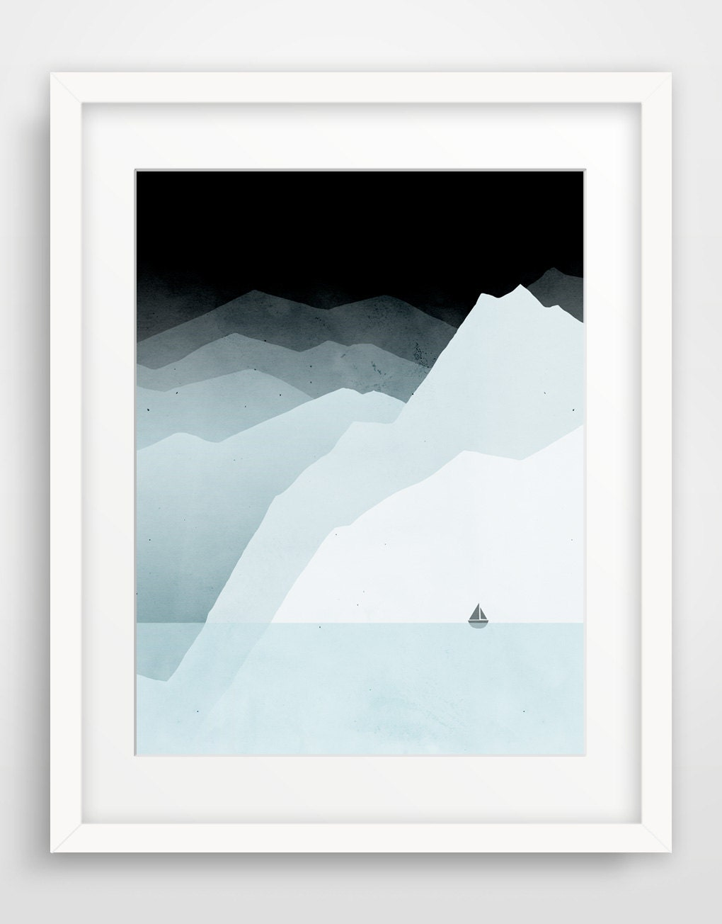 Minimalist Large Print, Modern Wall Art, Mountains, Sailboat, Iceberg, Blue Grey - evesand