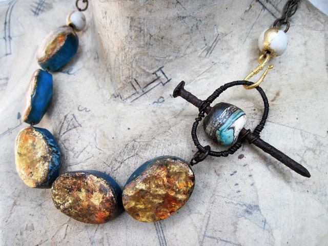 He Looks Out Through All Other Eyes. Gemstones, Gold Foil statement gypsy assemblage.