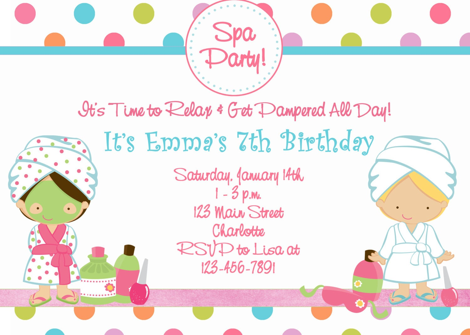 Spa Birthday Party Invitation spa party spa by TheButterflyPress